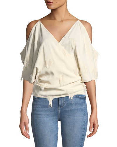 Cold-Shoulder Fringe Wrap Top