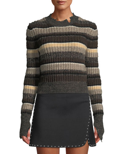 Distressed Ombre-Stripe Shrunken Wool Sweater