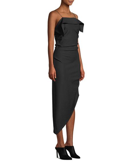 Draped Asymmetric Wool Midi Dress