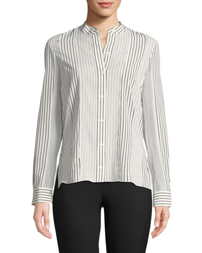 Mixed-Print Button-Front Blouse