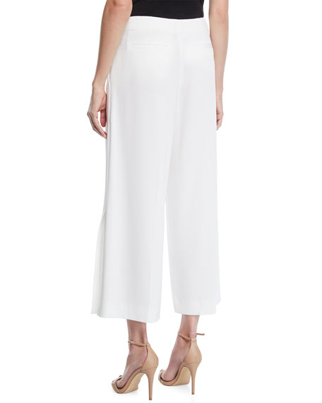 Cropped Crepe Culottes w/ Button Details