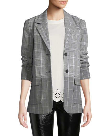 Derek Lam 10 Crosby Oversized Flannel Check Two-Button