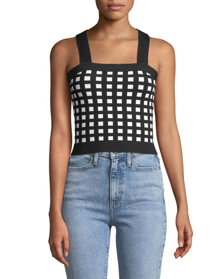 Knitted Check Crop Top