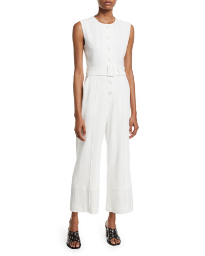 Sleeveless Button-Down Jumpsuit w/ Belt