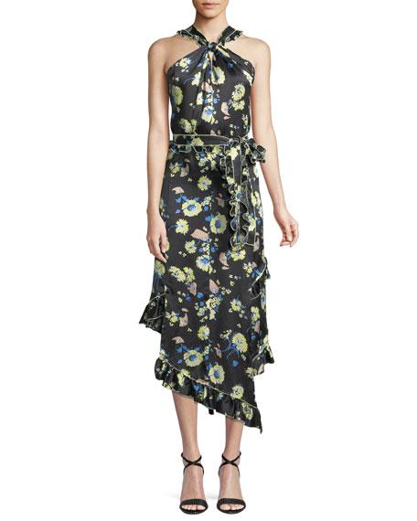 Derek Lam 10 Crosby Asymmetrical Floral Ruffle Halter