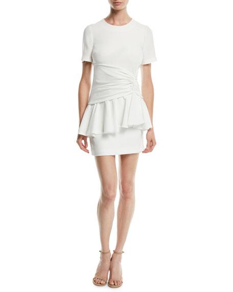 cinq a sept Fontaine Crewneck Flounce Mini Dress