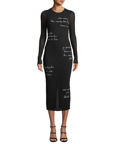 Ruffin Embroidered Long-Sleeve Midi Dress