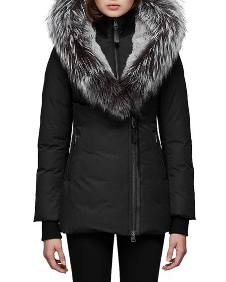 Mackage Priya-X Coat w/ Fox Fur Trim & Rabbit Fur Lining, BLACK