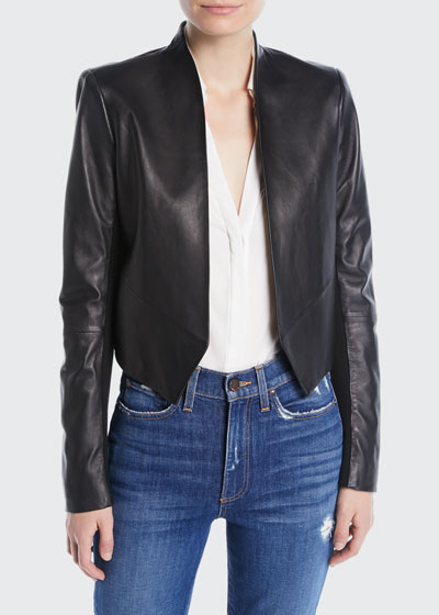 Harvey Draped Open-Front Leather Jacket