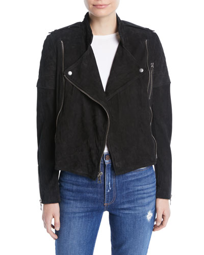 Miles Quilted Suede Zip-Front Moto Jacket