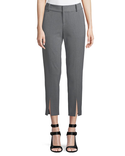 Stacey Front Slit Ankle Crepe Pants