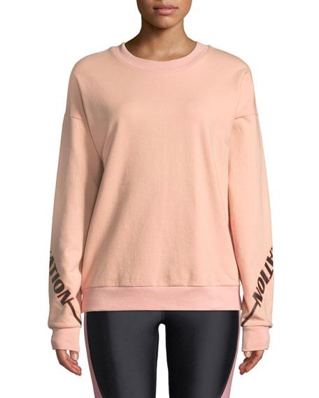 P.e Nation The Half-Run Crewneck Cotton Sweatshirt, PINK