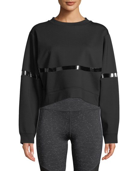 NYLORA Campbell Crewneck Cropped Sweatshirt With Patent-Stripe in Black