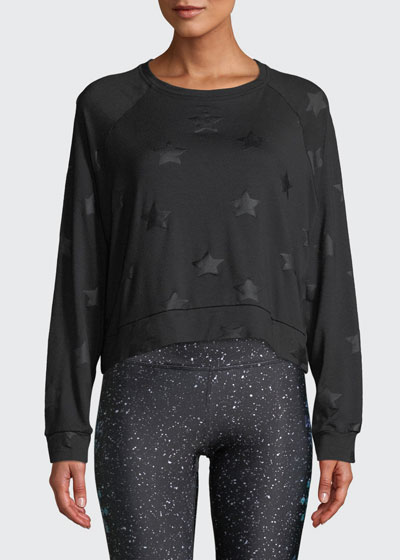 Star-Print Foil Cropped Crewneck Sweatshirt