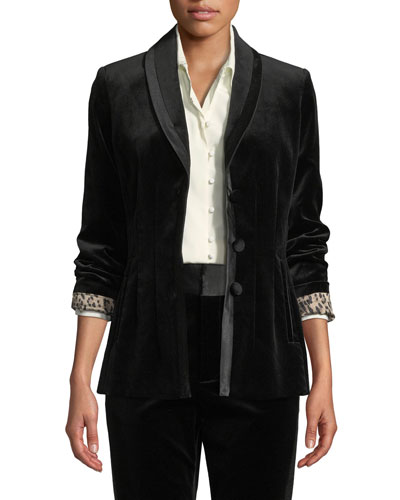 Fitted Velvet Button-Front Blazer Jacket
