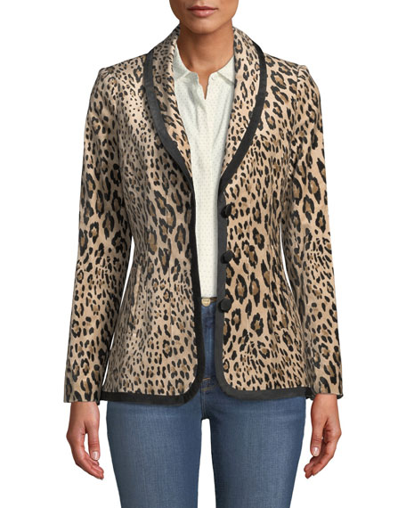 Fitted Button-Front Leopard-Print Velvet Jacket, Animal Print
