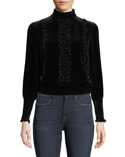 Mock-Neck Long-Sleeve Button-Back Ruffled Velvet Top