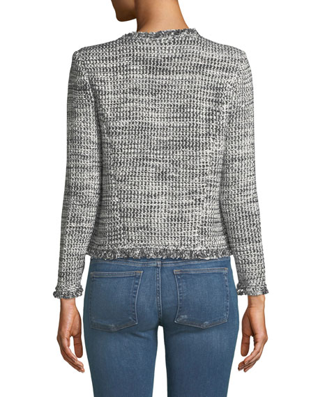 Unplug Open-Front Tweed Jacket