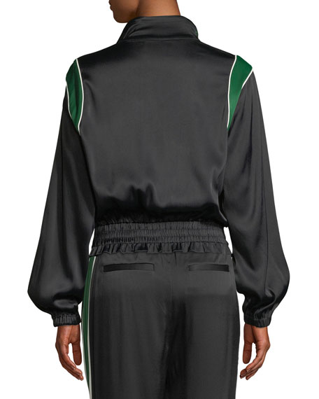 Zip-Front Piped Satin Bomber Jacket