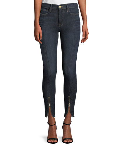 Le High Skinny Split Zip-Hem Ankle Jeans