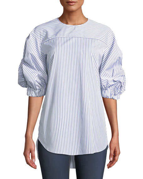 MONOGRAPHIE Elastic-Sleeve Striped Cotton Top in Blue/White
