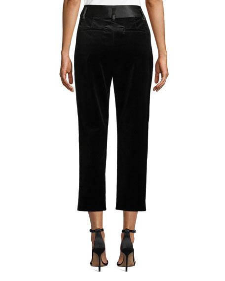 Velvet Tux Cropped Straight-Leg Pants