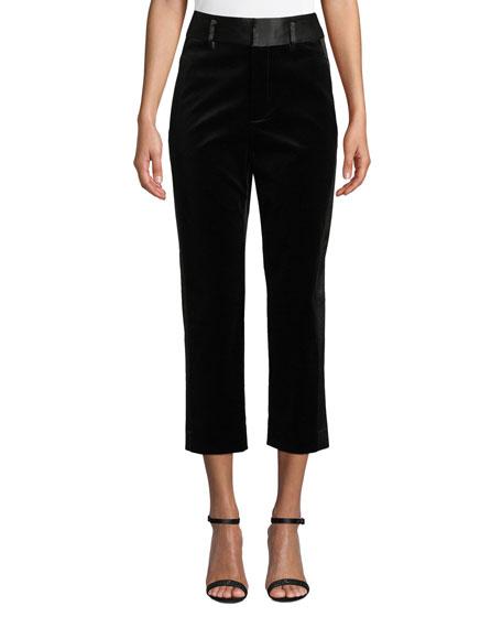 Velvet Tux Cropped Straight-Leg Pants, Black