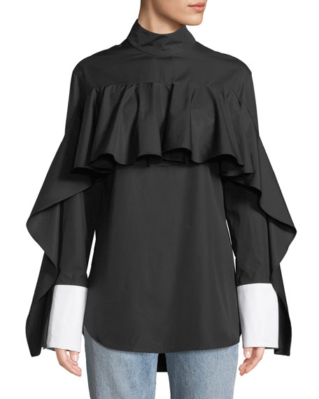 MONOGRAPHIE Button-Back Ruffle Long-Sleeve Shirt in Black