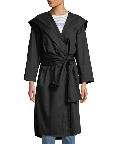 MONOGRAPHIE Hooded Long-Sleeve Belted Kimono Jacket in Black