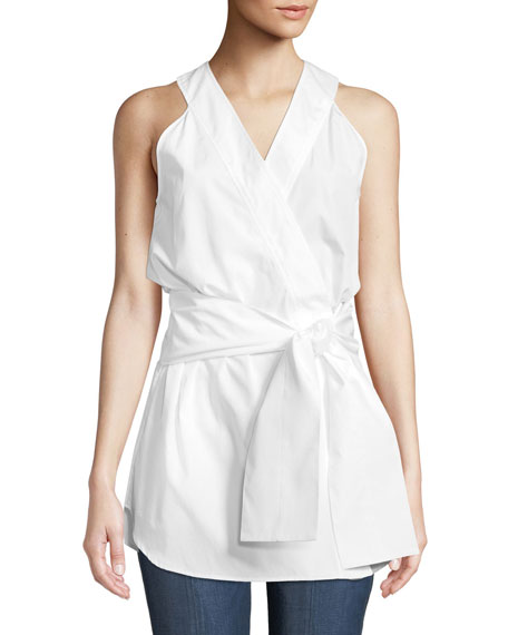 Monographie SLEEVELESS COTTON POPLIN KIMONO TOP