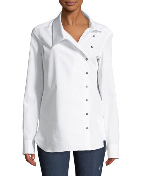 MONOGRAPHIE Classic Crossover Button-Front Cotton Shirt in White