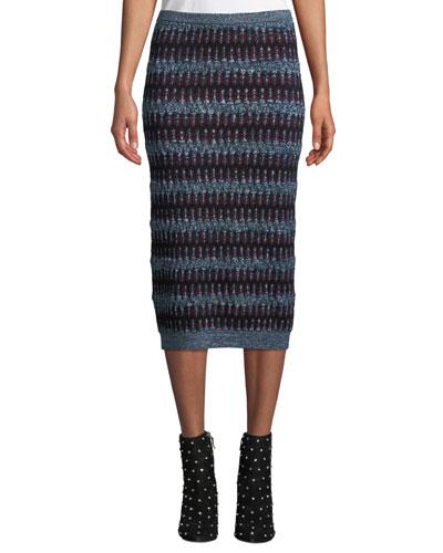 Zigzag Jacquard Midi Skirt