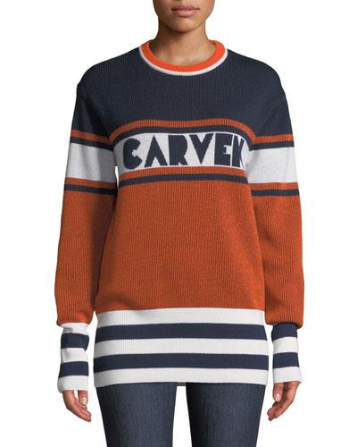 Colorblock Logo Crewneck Pullover Sweater