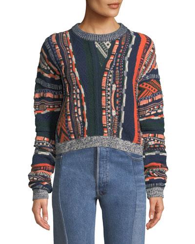 Multi-Print Crewneck Pullover Sweater