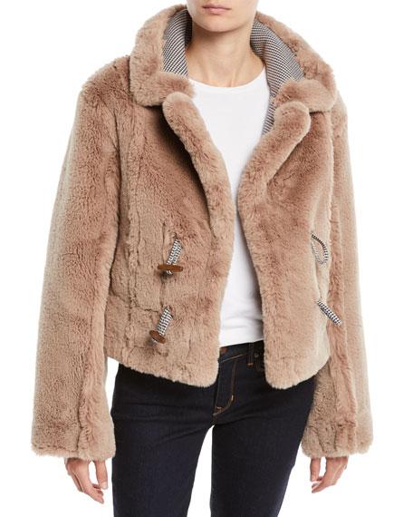 Insomniac Reversible Faux-Fur Houndstooth Jacket