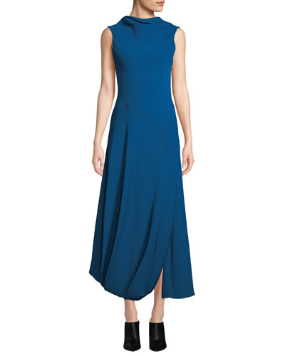 Turtleneck Split-Hem Sleeveless Maxi Gown