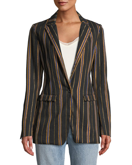 Masai Striped Metallic Single-Button Jacket