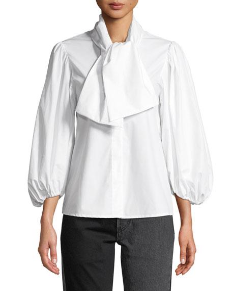 ISA ARFEN Esther Tie-Neck Blouson-Sleeve Poplin Top in White