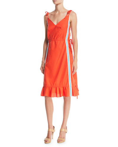 Sleeveless Side-Stripe Flounce Dress