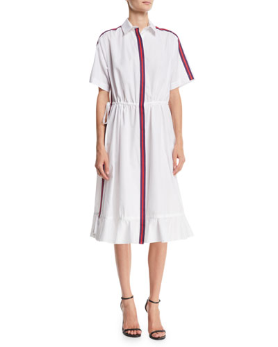 Striped Short-Sleeve Flounce Shirtdress