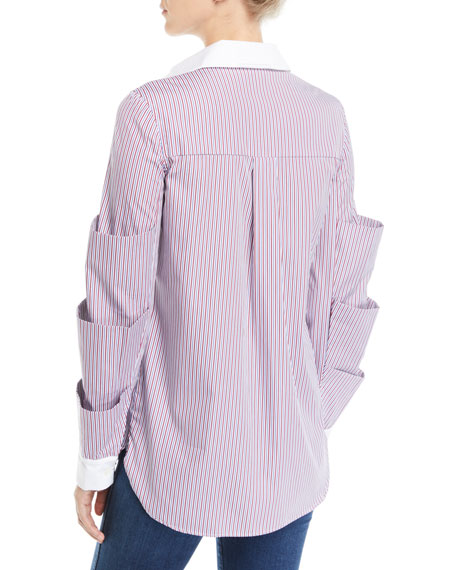 Striped Tiered-Sleeve Button-Front Poplin Top