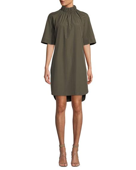 MONOGRAPHIE ELASTIC-COLLAR SHORT-SLEEVE SHIFT DRESS