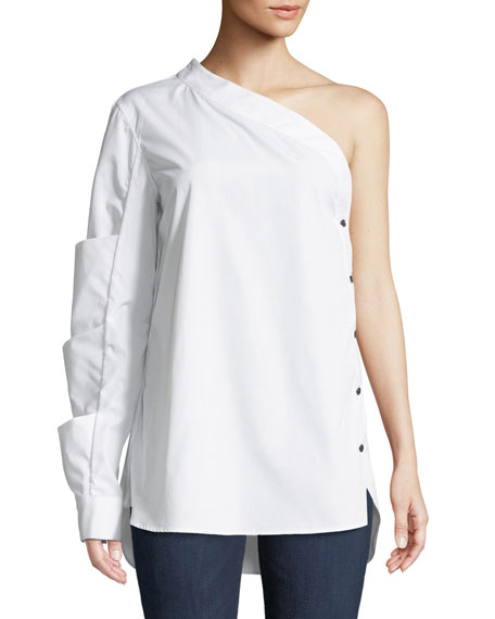 MONOGRAPHIE One-Sleeve Side-Button Poplin Top in White