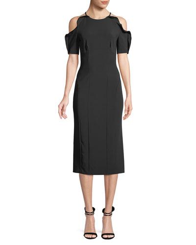 Cold-Shoulder Ruffle Column Midi Dress
