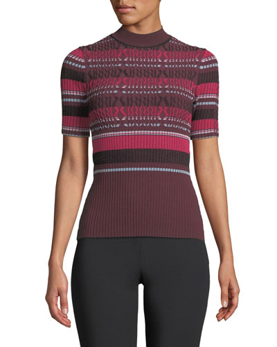 Fitted Ribbed Short-Sleeve Striped Top