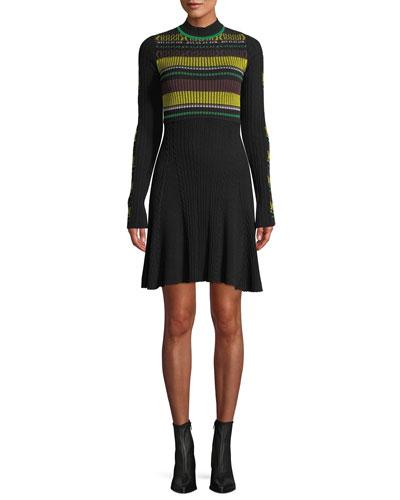Ribbed Long-Sleeve Striped Flare Dress
