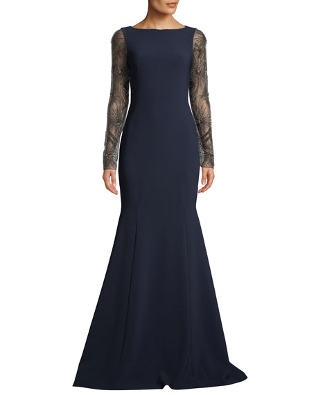 Theia CREPE TRUMPET GOWN W/ BEADED SLEEVES