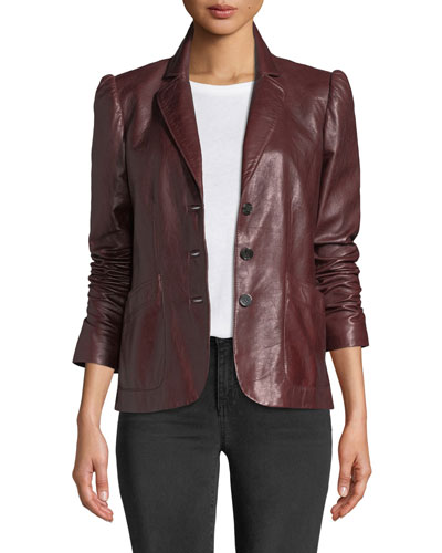 Notch-Collar Button-Front Leather Jacket