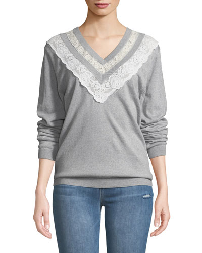 Lace Combo V-Neck Pullover Sweater