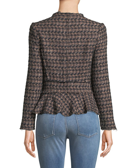 Zip-Front Tweed Peplum Jacket
